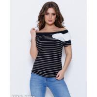 Черно-белая полосатая футболка с рюшами на горловине