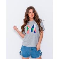 Эластичная серая трикотажная футболка с вышивкой
