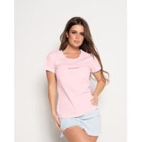 Розовая футболка с блестящей лаконичной надписью