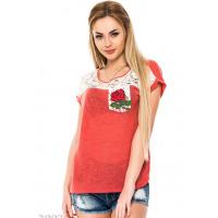 Бордовая трикотажная футболка с кружевной вставкой и кармашком