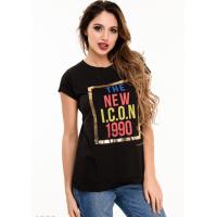 Черная футболка с цветным ретро-принтом