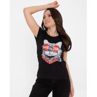 Черная хлопковая футболка с кошачьим принтом