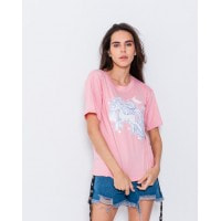 Эластичная футболка розового цвета с единорогом