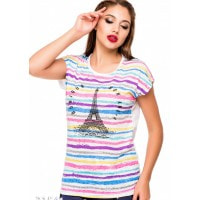 Летняя футболка с цветными полосами впереди и белой однотонной спинкой