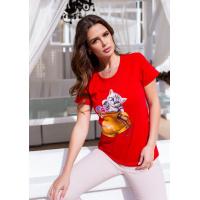 Красная трикотажная футболка с кошачьим принтом