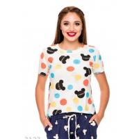 Трикотажная рваная футболка с цветными кругами