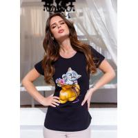 Черная трикотажная футболка с кошачьим принтом