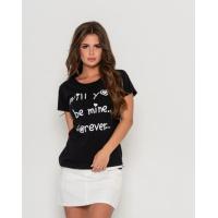 Черная хлопковая футболка с милой надписью