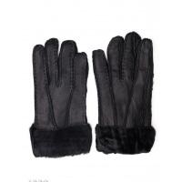 Черные грубые кожаные рукавицы с меховыми манжетами