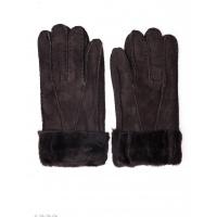 Темно-коричневые грубые кожаные рукавицы с меховыми манжетами