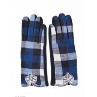 Синие клетчатые перчатки с меховыми бантиками