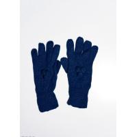 Темно-синие шерстяные однослойные перчатки с объемной аппликацией