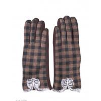 Темно-коричневые клетчатые перчатки с меховыми бантиками
