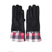 Черные комбинированные перчатки с замшей и клетчатой вставкой