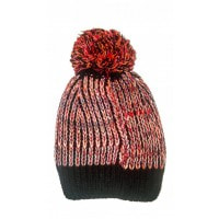 Черная шапочка в красные полосы с помпоном