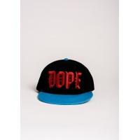 Черная с голубым кепка с вышивкой DOPE