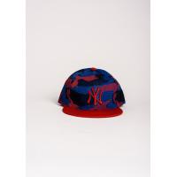 Ярко-синяя камуфляжная кепка с вышивкой NY