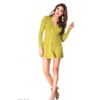 Оливковая платье-кофта на пуговках расширенная к низу