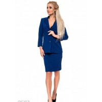 Ярко-синий офисный костюм из длинного пиджака и юбки-карандаша