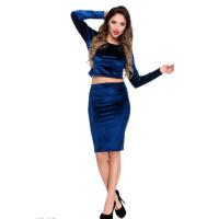 Синий велюровый вечерний костюм из узкой юбки и топа с длинными рукавами