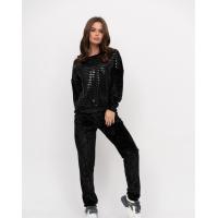 Черный велюровый костюм с блестящими полосками