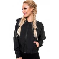 Черная широкая курточка со шнуровкой лентами на рукавах