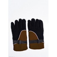 Черно-коричневые теплые флисовые перчатки с затяжками на манжетах