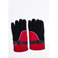 Черно-красные теплые флисовые перчатки с затяжками на манжетах