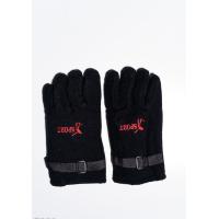Черные теплые флисовые перчатки с затяжками на манжетах и принтом