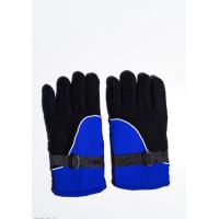 Черно-синие теплые флисовые перчатки с затяжками на манжетах