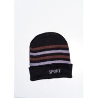 Черно-коричневая теплая шапка на флисе с вышивкой на подвороте