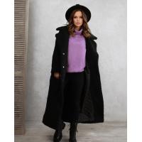 Черное удлиненное шерстяное пальто
