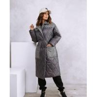 Серое удлиненное принтованное пальто на синтепоне