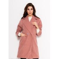 Розовое вельветовое демисезонное пальто в стиле оверсайз с круглыми отворотами воротника