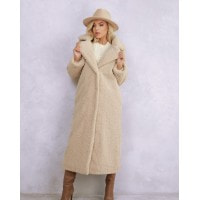 Бежевое удлиненное фактурное шерстяное пальто