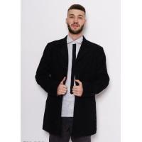Черное демисезонное однобортное пальто прямого кроя