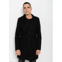 Черное прямое пальто на пуговицах с двубортным воротником