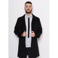 Темно-серое классическое пальто декорированное четырьмя карманами на клапанах