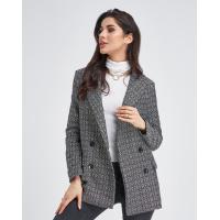 Черно-белый фактурный твидовый пиджак