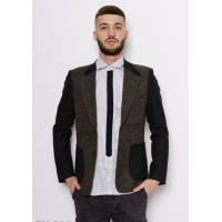 Комбинированный клетчатый шерстяной пиджак цвета хаки