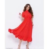 Красное в горошек приталенное платье с воланом