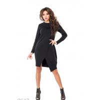 Черное свободное платье до колен с имитацией запаха