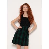 Черно-зеленое клетчатое платье без рукавов с карманами