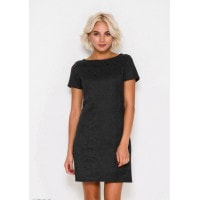 Черное мини платье из эко-замши с декором из бусин