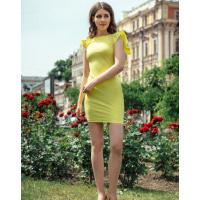 Облегающее желтое платье с рукавами воланами