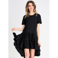 Черное летнее платье с короткими рукавами и присобранной асимметричной юбкой