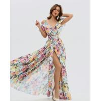 Длинное платье на запах с акварельным принтом