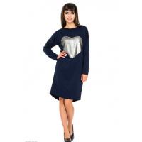 Свободное синее платье из двунити с вышивкой двусторонними матовыми пайетками