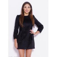 Черное демисезонное платье-футляр с кружевом