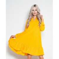 Желтое крепдешиновое платье с воланом